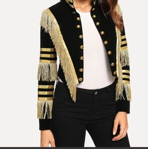Fringe Patched Metallic Stripe Jacket